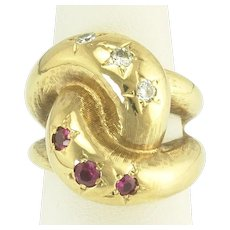 Sophisticated Retro Ruby and Diamond Star Knot Ring in 14k Gold