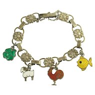 Vintage Silver Daisy Chain Bracelet with Enamel Sterling Charms - Four Leaf Clover - Ram - Rooster - Fish