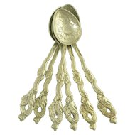 Set of Six Vintage 840 Silver Dragon with Flaming Pearl Handled Spoons - Shanghai China