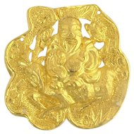 Antique Chinese 24k Gold Hat Ornament Plaque