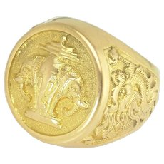 Bold Gents Vintage Elephant and Dragon Motif Laotian Emblem Ring in 18k