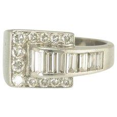 Striking Art Deco Diamond and Platinum Buckle Motif Ring