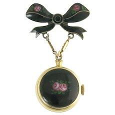 Vintage Harman Swiss Enamel Pocket Watch with Enamel Bow Brooch