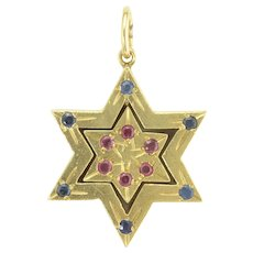 Vintage Reversible Star of David Pendant in Rubies Sapphires and 14k Gold