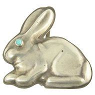 Vintage Sterling Silver and Turquoise Bunny Rabbit Belt Buckle