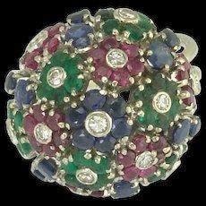 Vintage Diamond Ruby Emerald Sapphire Flower Bouquet Ring in 18k White Gold