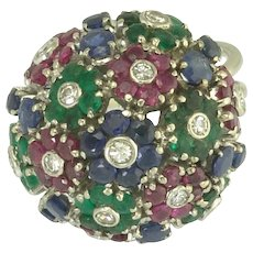 Vintage Diamond Ruby Emerald Sapphire Flower Bouquet Ring in 18k White Gold