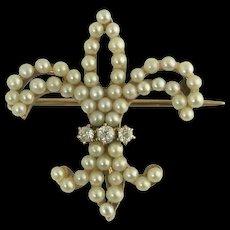 Lovely Victorian Pearl and Mine-Cut Diamond Fleur de lis Watch Pin in 14k
