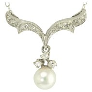 Vintage Diamond and Pearl Pendant in 14k White Gold