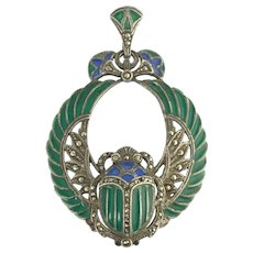 Stunning Vintage Plique a Jour and Marcasite Winged Scarab Pendant in Sterling Silver