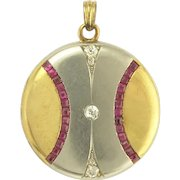 Art Deco Ruby Diamond Platinum 18k Gold Locket