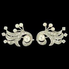 Vintage Diamond Akoya Pearl and 14k White Gold Earrings