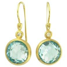 Lovely Blue Topaz Diamond and 18k Gold Pendant Earrings
