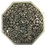 Large Vintage Sterling Silver Octagonal Brooch with Floral Motif