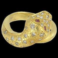 Vintage 18k Gold Diamond and Ruby Snake Ring