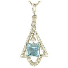 Vintage Aquamarine and Diamond Pendant in 18k White Gold