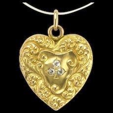 Antique Art Nouveau Repousse Heart Locket with Diamond Shamrock Three Leaf Clover or Trefoil in 14k Gold