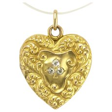 Antique Art Nouveau Repousse Heart Locket with Diamond Shamrock Three Leaf Clover or Trefoil in 14k Gold