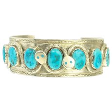 Vintage Effie Calavaza Native American Zuni Turquoise and Sterling Silver Snake Cuff Bracelet