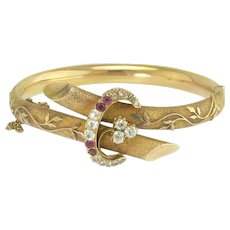 Fine Antique Victorian Diamond and Ruby Bangle Bracelet in 14k Gold