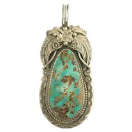 Large Vintage Native American Navajo Turquoise and Sterling Silver Pendant