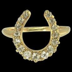 Lucky Antique Diamond Horseshoe Ring in 14k Gold