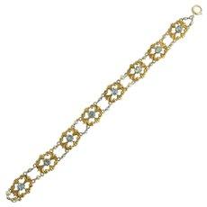 Antique Art Nouveau Aquamarine Pearl Bracelet in 14k Gold