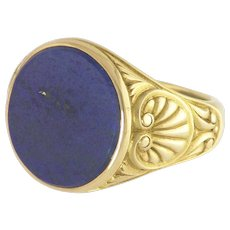 Vintage Lapis and 14k Gold Gentlemans Ring