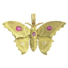 Antique Butterfly Pendant Charm with Rubies and Diamonds in 14k Gold