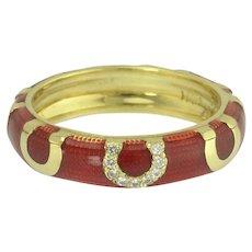 Hidalgo 18k Red Enamel and Lucky Diamond Horseshoe Eternity Stacking Ring