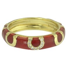 Hidalgo 18k Red Enamel and Lucky Diamond Horseshoe Eternity Stacking Ring