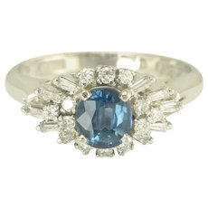 Vintage Sapphire Diamond and Platinum Ring