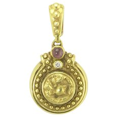 Vintage JJ Marco Ancient Style Coin or Medallion Pendant in 18k Gold