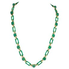 Art Deco Sugarloaf Carved Chrysoprase and 14k Gold Chain Necklace