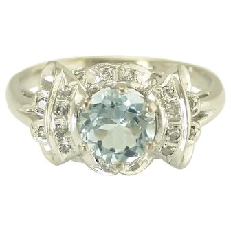 Vintage Aquamarine and Diamond Ring in 18k White Gold