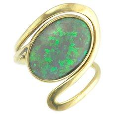 Vintage Australian Semi-Black Opal Whiplash Design Ring in 14k Gold