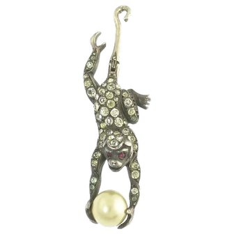 Delightful American Hallmarked Vintage Articulated Sterling Silver Pearl Paste and Glass Monkey Pendant
