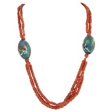 Vintage Chinese Natural Coral and Cloisonne Bead and Silver Necklace