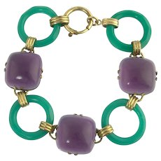 Tasty Art Deco Amethyst and Chrysoprase Link Bracelet in Rolled Gold