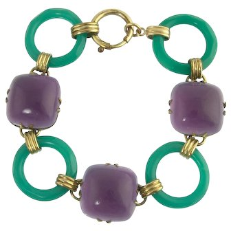 Tasty Art Deco Amethyst and Chrysoprase Link Bracelet in Rolled Gold
