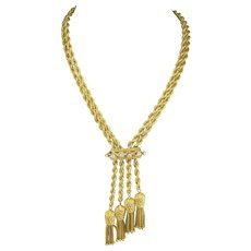 Hefty Vintage Pineapple Tassel Necklace in 14k Gold with Diamonds