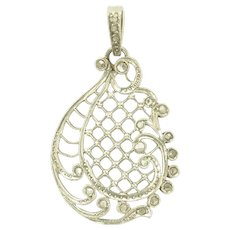Antique Edwardian Rose Cut Diamond and Platinum Filigree Pendant