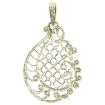 Antique Edwardian Rose Cut Diamond and Platinum Filigree Pendant