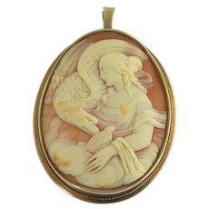 Large Antique Victorian Hebe and the Eagle Cameo Pendant Brooch in 14k Gold
