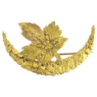 Antique Native Gold Rush Nuggets Crescent and Leaf Brooch or Watch Pin in 14k