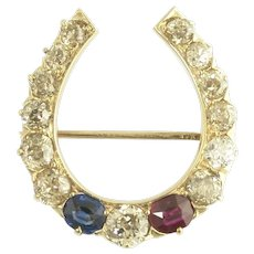 Antique Old Mine Cut Diamond Ruby and Sapphire Equestrian Horseshoe Brooch