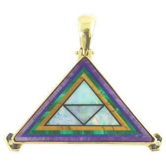 Dramatic Vintage Geometric Inlay Pendant in 14k Gold with Opal Tigers Eye Malachite Sugalite Diamonds and Sapphires