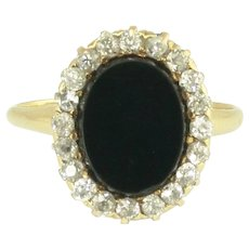 Art Deco Onyx and European Cut Diamond Halo Ring in 14k Gold