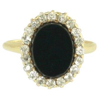 Art Deco Onyx and European Cut Diamond Halo Ring in 14k Gold