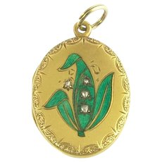 Antique Victorian Enamel Lily of the Valley Flower and Diamond Locket in 18k Gold